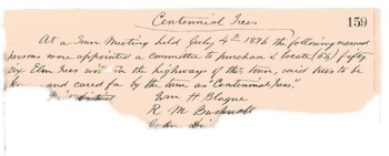 Page from Old Saybrook town records, Volume 8, page 159, July 4, 1876