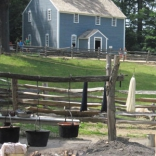 Dye is applied to wool harvested at Sturbridge Village in Massachusetts