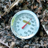 Compost thermometer measures correct heat for killing weeds.